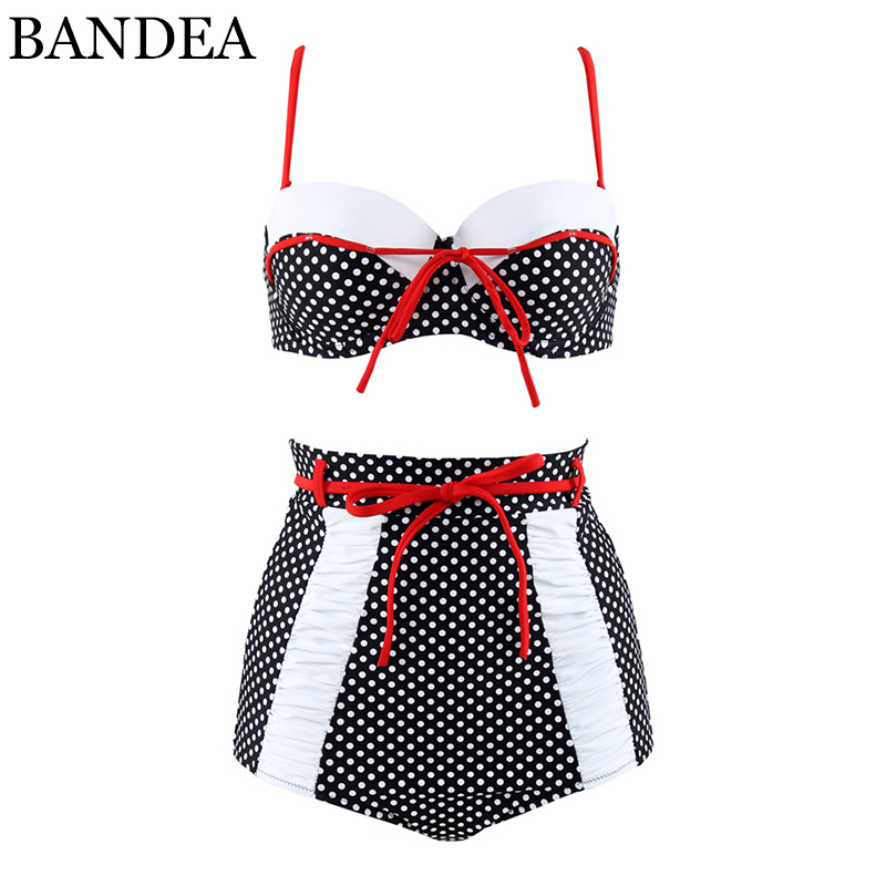 BANDEA plus size bikini set women bandeau swimwear sexy push up bathing suit retro high waisted swimsuit for women beach wear