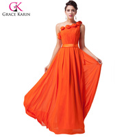 Free Shipping Grace Karin One Shoulder Zipper Chiffon Ball Gown Orange Red Evening Long Cocktail Prom