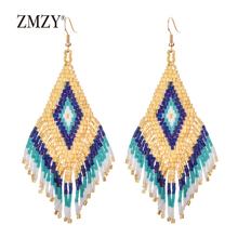 ZMZY Wholesale Bohemian Colorful Beads Earrings Long Drop for Women Statement Miyuki Delica Handmade Style