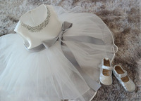 2015 New White Lace Tulle Flower Girl Dress Princess Pearl Ball Gown Party Wedding Girls Dresses