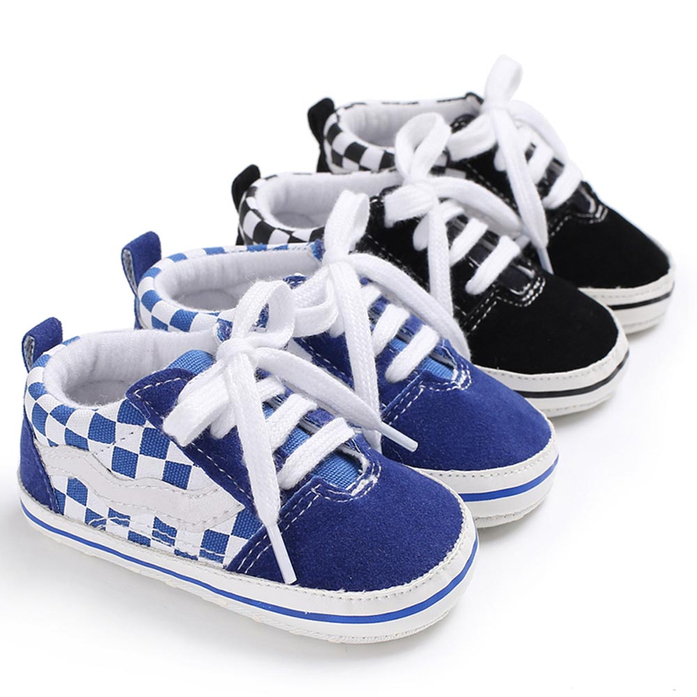 Fashion Newborn Baby Shoes Infant Casual Mix Colors First Walker Cotton Cloth Soft Sole Non Slip Grid Top Sneakers