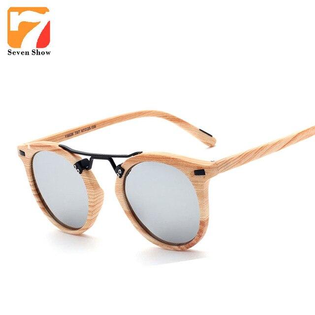 Luxe coloré Imitation bois cat eye lunettes de soleil femmes marque designer  vintage femme lunettes de b2625f1339f5