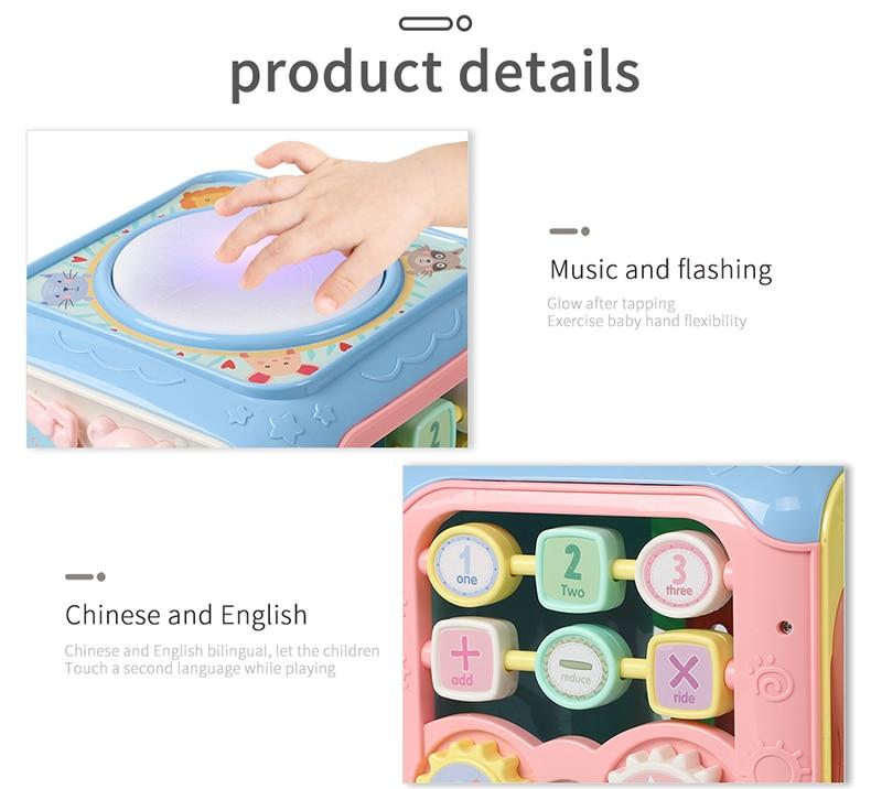 Cubo de atividades musicais, brinquedo educativo para