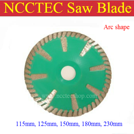 7'' NCCTEC Diamond ARC saw blade with long protect teeth (5 pcs per package) | 180mm granite marble Curve cutting wheel 8 200mm diamond dry cutting disk saw blade plate wheel with long short protective teeth for dry cutting granite sandstone