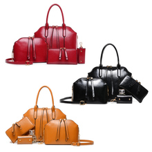 Damen Mode Pu-leder Quaste Handtasche Tasche + Schultertasche Handtasche + Umhängetasche LXX9