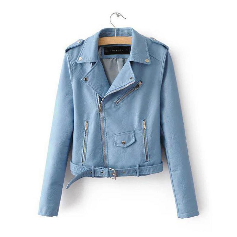 New Spring Autumn Fashion Bright Colors Ladies   Basic     Jackets   Women Short Pu Leather   Jacket   Outwear Chaqueta Jaqueta Veste M L XL