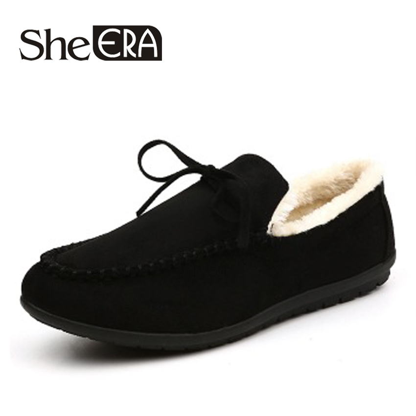 Fashion Quality Leather Keep Warm Synthetic Fur Men Loafers Chaussures Hommes Moccasins Peas Shoes Flats Winter Schoenen SheERA