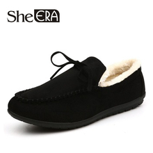 Men Loafers Moccasins Sheera Flats Peas Shoes Quality Synthetic Fashion Winter Fur Chaussures