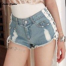 1pcs High waist Sexy Women jeans denim shorts 2019 Summer Fashion Denim Bandage shorts Ladies Skinny super Nightclub short jeans