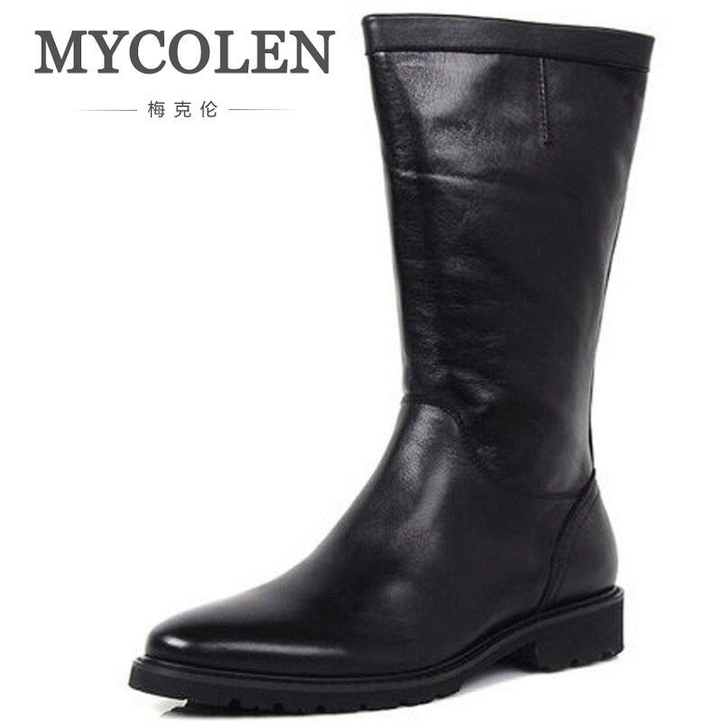 MYCOLEN 2018 en cuir véritable hommes chaussures mi-mollet homme en cuir bottes d'équitation hiver travail bottes de sécurité noir hommes bottes militaires