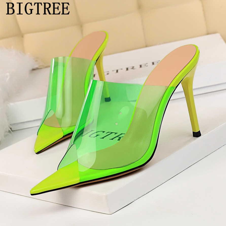 ピープトウピンクスライドポインテッドスリッパ女性スリッパ夏 zapatos デ mujer chaussures ファム ayakkabı
