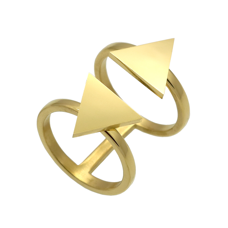 Cute Double Triangle Cut Stainless Steel Rings