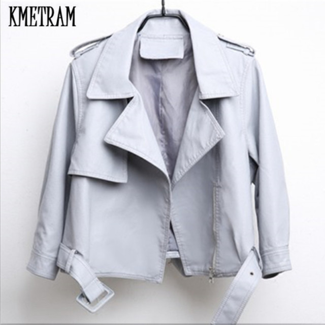 b811698d89b17d KMETRAM 2018 Fashion Spring Autumn Women Leather Jackets Pu Pink Leather  Coats Slim Cute Faux Leather Motorcycle Outwear HH744