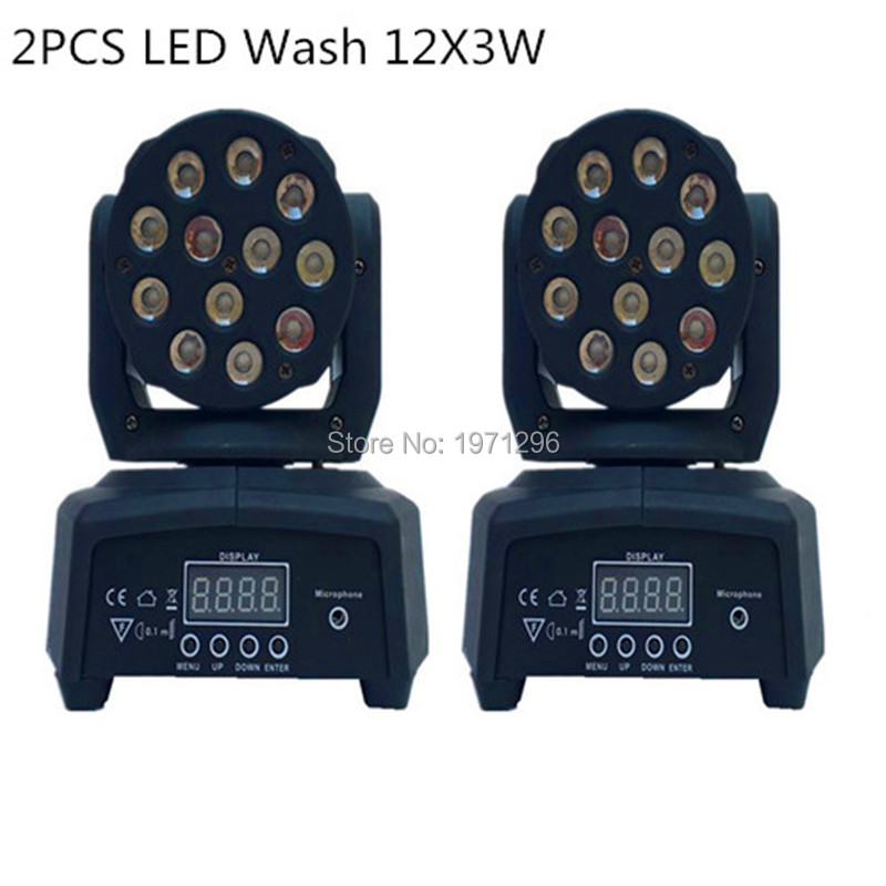 2 pieces Promotional Packaging DMX Stage Light LED Moving Head Mini wash 12X3W RGB Professional Stage & DJ FREE&FAST shipping  free shipping 3wx36 rgb moving head wash professional dmx disco light show new product for 2016