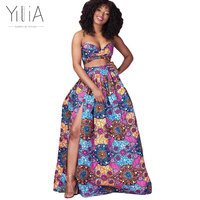 Yilia Summer Sexy A Line 2018 New Colorful African Print Skirts Women Fashion High Slit Beach Party Club Vestidos 4 Color