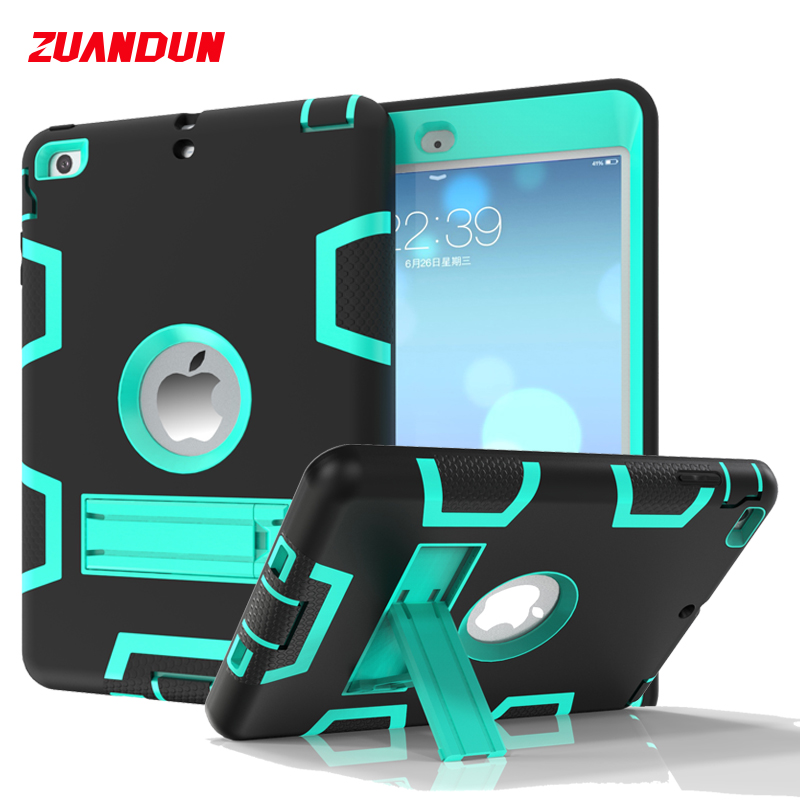 ZUANDUN Heavy Duty Hard Armor Case For iPad Mini 1 2 3 Cover Silicone TPU PC Stand Shockproof Case For iPad Mini 2 Tablets Cases for amazon 2017 new kindle fire hd 8 armor shockproof hybrid heavy duty protective stand cover case for kindle fire hd8 2017