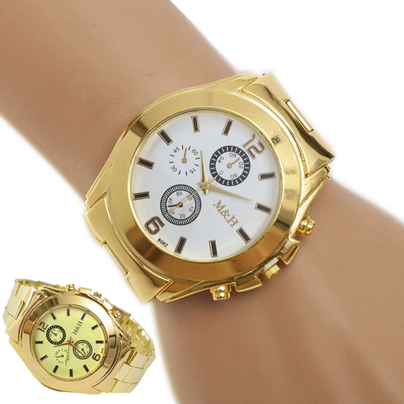 Perfect Gift mens watches top brand luxury Stainless Steel Sport Quartz Wrist Hour Gold Bracelet Big Dial Watch Mmay26