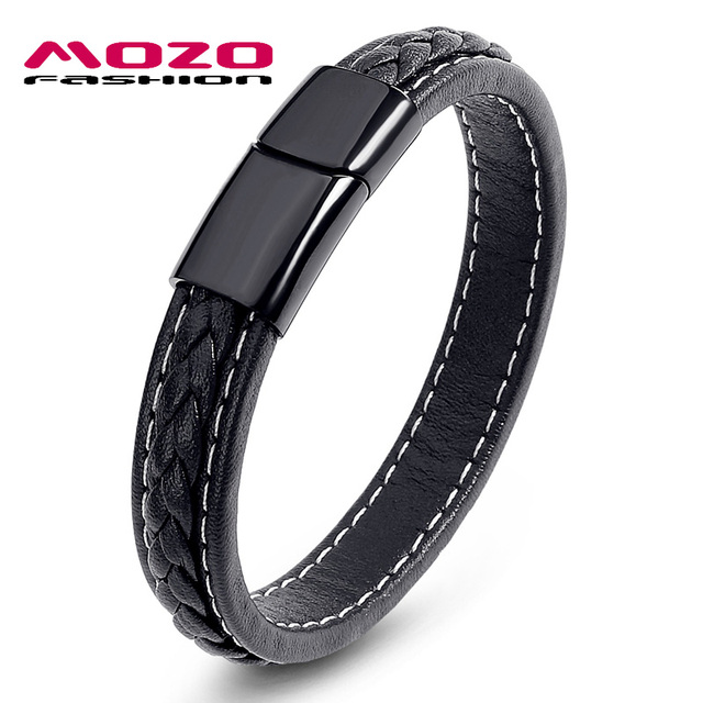 MOZO FASHION Men Black Leather Bracelet Stainless Steel Magnetic Buckle Bracelets & Bangles Male Punk Jewelry Pulseras PS2062