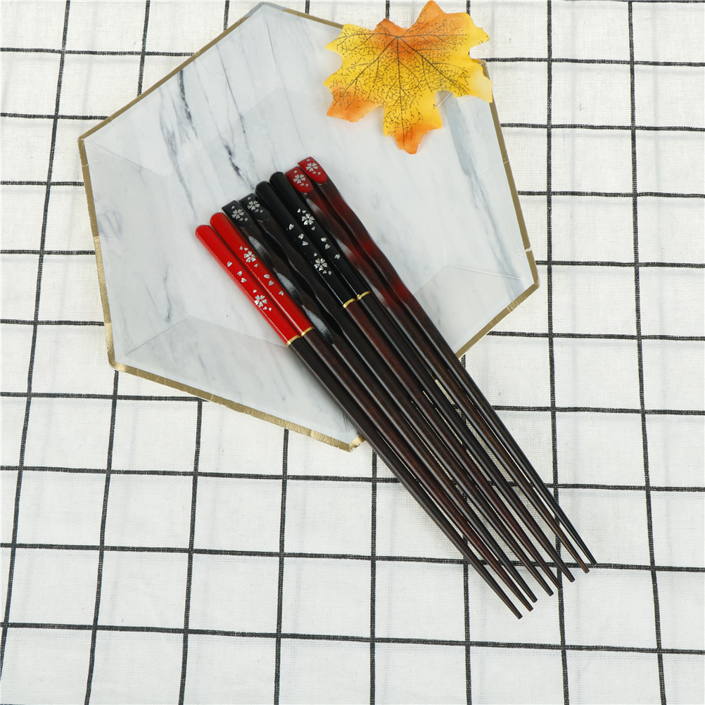 Reusable Nature Eco-Friendly Wood Chopsticks Antibacterial Anti Skid Healthy Chinese Chop Sticks Cherry Blossoms Nail Craft