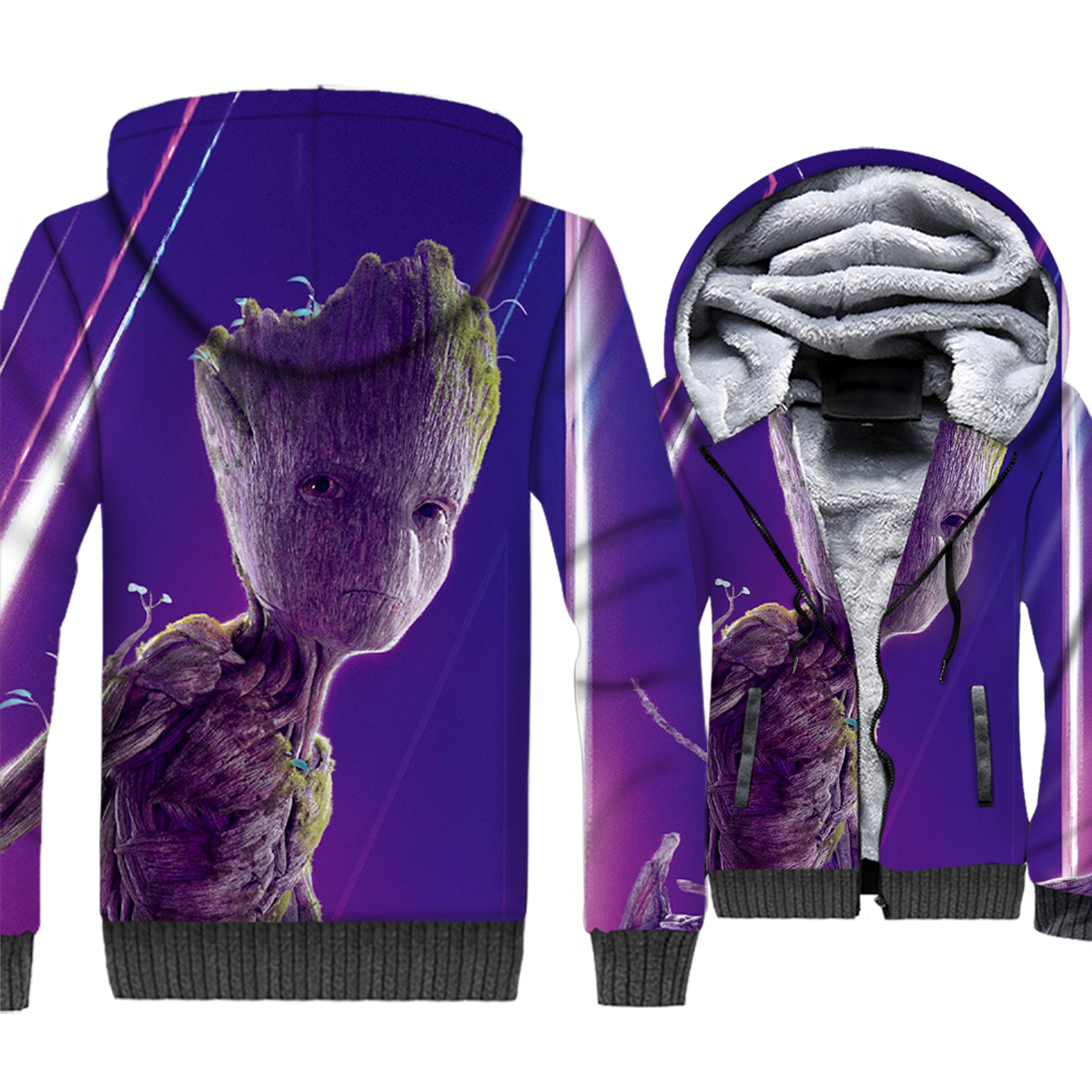 Super hero 3D print jackets coat men 2019 thick sweatshirt fashion Tree man Groot streetwear hoodies long sleeve clothing man