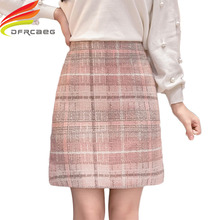 Tweed Wool Mini Skirt Women 2019 New Arrivals Korean Fashion Gray Pink And Black