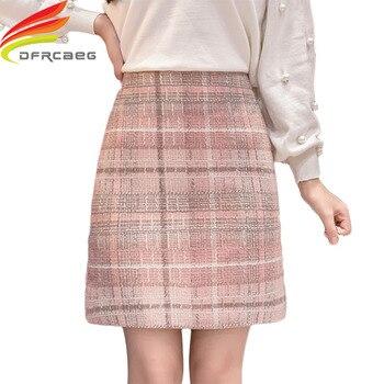 Tweed Wool Mini Skirt Women 2019 New Arrivals Korean Fashion Gray Pink And Black High Waist Woolen Skirts For faldas