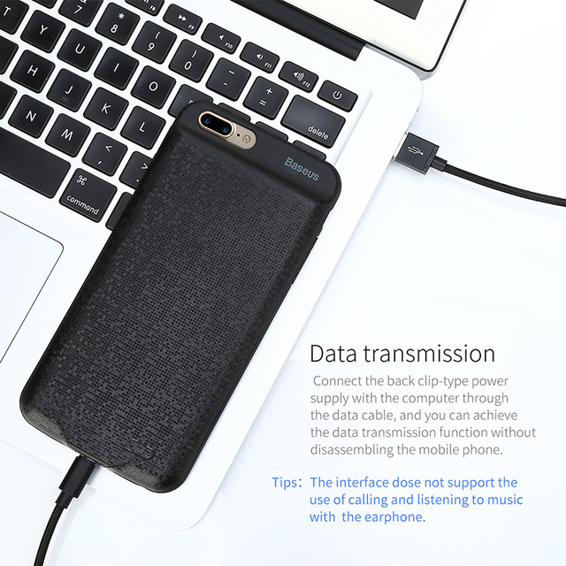 Baseus 2+1 Charger Case For iPhone 7 6 6s Plus 2500/3650mAh Power Bank Case Ultra Slim External Backup Battery