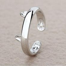 2017 Fashion Women Silver Plated Cat Rings Cute Kitten Ears Design Open Party Ring For Young Girls Jewelry Top Quality Gift
