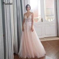 Luxury Evening Dresses 2018 V Neck Crystal Beaded Top Prom Dress 2019 Blush Tulle Evening Gown Long Vestido de Fiesta Largo RE23