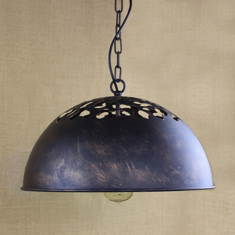 Reto vintage Industrial  hemispherical  top pierced large pendant lamp  For Kitchen/Cabinet bar coffee lights pierced