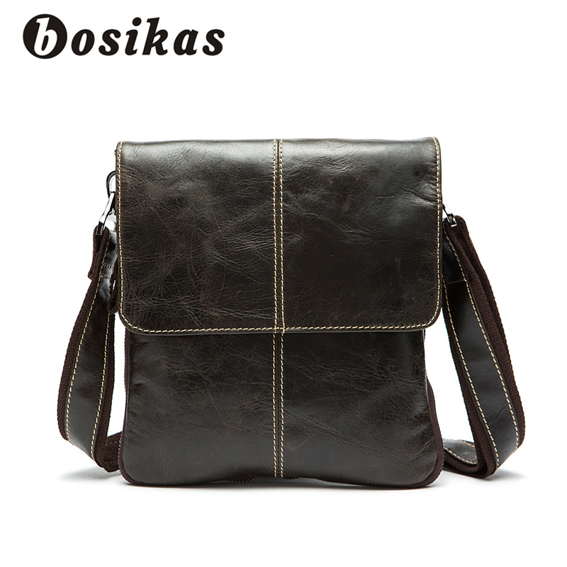 BOSIKAS Genuine Leather Men Bag Cow Leather Crossbody Bags Shoulder Men Messenger Bags Small Casual Designer