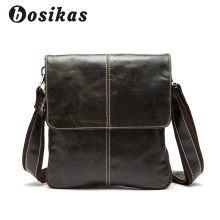 BOSIKAS Genuine Leather Men Bag Cow Leather Crossbody Bags Shoulder Men Messenger Bags Small Casual Designer Handbags Man Bags