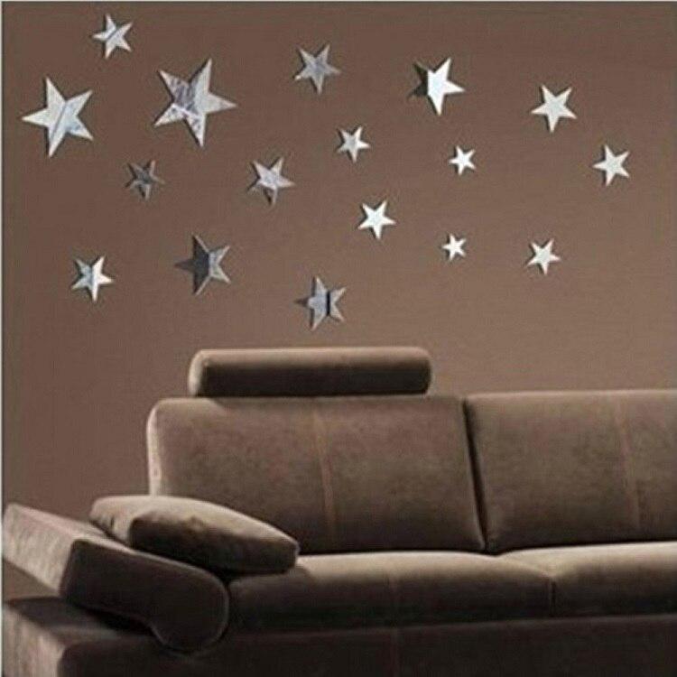 かわいいスターミラー装飾的な壁のステッカーアクリルミラーウォールステッカーリビングルーム寝室キッズルーム家の装飾リビングルーム