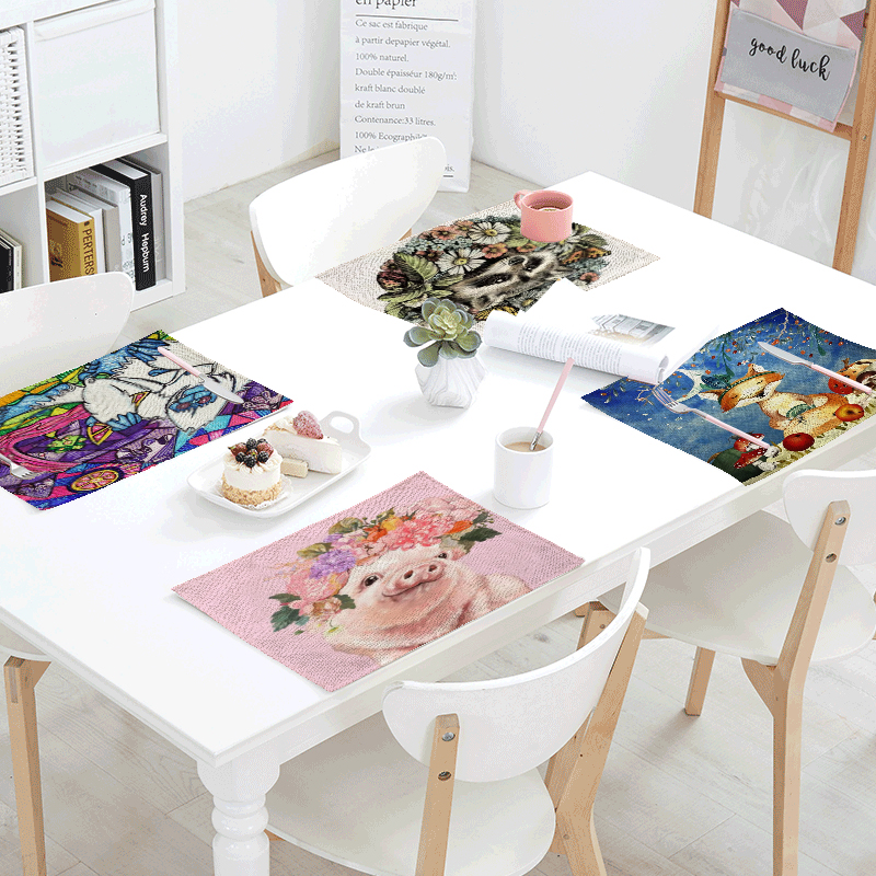 Lovely Cartoon Fox Pink Pig Napkins For Wedding Printed Towels Coffee Tablecloth 42*32cm Wholesale Butterfly Table Set Mat Skirt