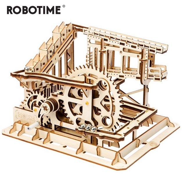 Robotime DIY Coaster Criativo Magia Cog Marble Run Jogo De Madeira Kits Modelo de Construção de Montagem de Brinquedo de Presente para Crianças Adulto LG502