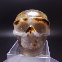 535g Natural Crystal SKULL decoration Stones and Minerals Red agate through the carved by hand