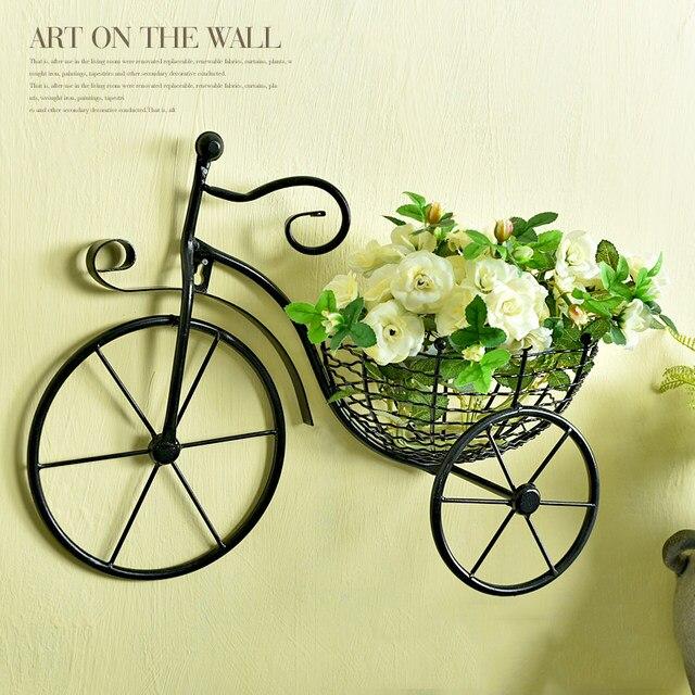 Online Shop 1 Set Creative Rose Plant Bike Shape Wall Hanging Basket ...