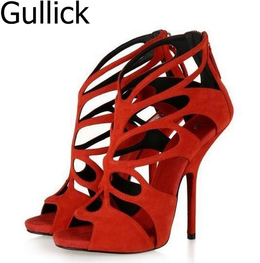 Summer Fashionable Cut-Out Suede Leather Gladiator Women Sandal Shoes Solid Red Yellow Black Cage Sandals Stiletto Heels Sandals fashionable sleeveless cut out solid color skinny crop top for women