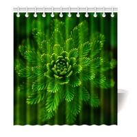 Shower Curtain Beauty Green plants Waterproof Mildewproof Polyester Fabric Bath Curtain Bathroom