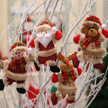 Hot Merry Christmas Ornaments Santa Claus Snowman Tree Hanging Decorations Gift Reindeer Bear Decor Supplies