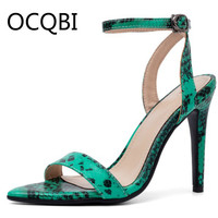 Womens High Heel Summer Shoes Single Strap Pointed Toe Open Toe Sandals Street Shoes Snake grain Pattern Green Sandals