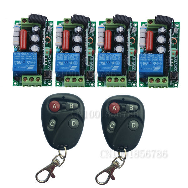 220V Wireless Remote Control Switch System RF 4 Receivers+2Transmitter Through Wall Remote Control For LED Light Lamp dc12 1ch rf wireless remote control switch system 12ch transmitter 12 x receivers wireless remote switch contro lamp window