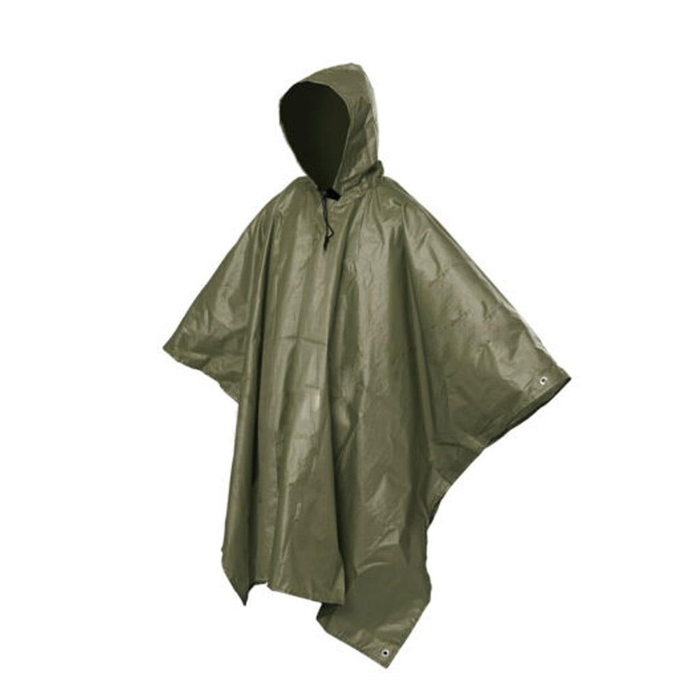 Multifunctional One-Piece Rain Coat Poncho Cape Tarp For Camping Hiking