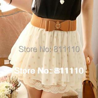 Trend Knitting  NO Belt ! summer skirt 2014 Fashion leisure dot Chiffon printing Ball Gown mini skirts women 2 color