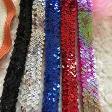 10Yds $13.99 3 Row Sequin Elastic Strech Lace Fabric Band Belt Tape Sew Cloth Dress Decorate Accessory More Color 3CM Width Gold