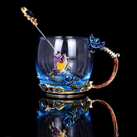 Luxury Vintage Enamel Glass Cups Blue Rose Handgrip Drinkware With A Butterfly On The Body Glass