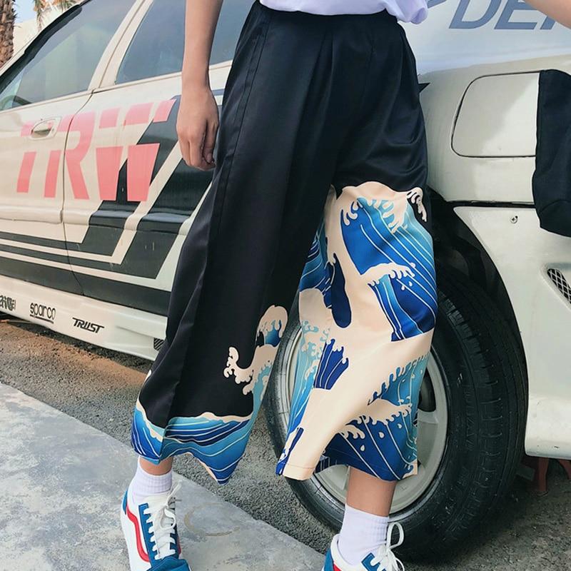 Summer   Wide     Leg     Pants   Women Harajuku Cartoon Printed Loose Trousers Female 2019 Casual Japan Style High Waist   Pants