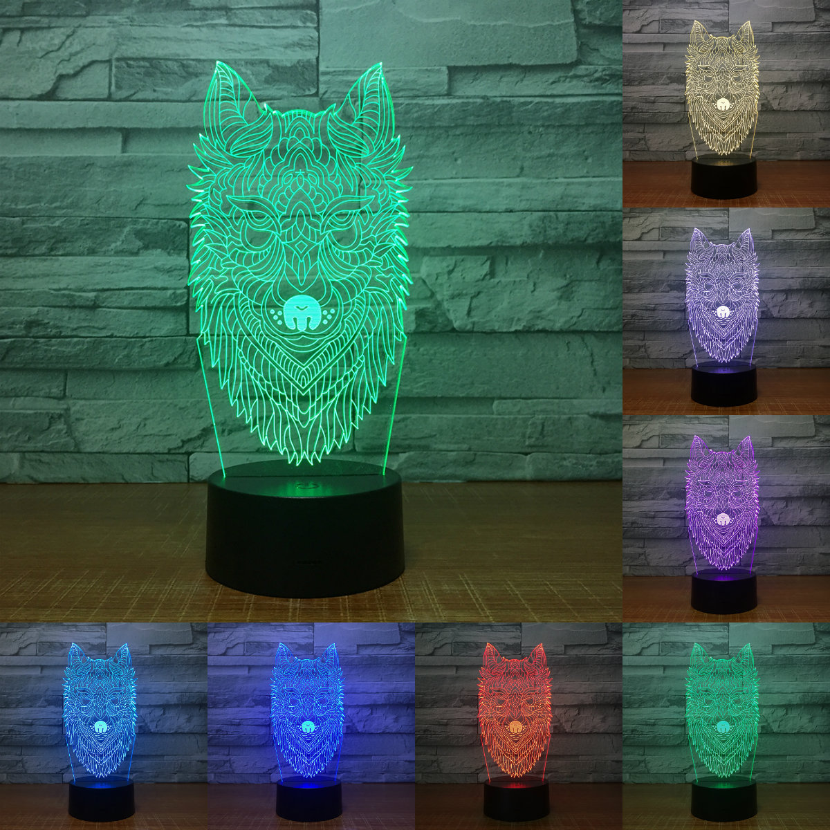 7 Color Wolf head Lamp 3D Visual Led Night Lights for Kids Touch USB Table Lampara Lampe Baby Sleeping Nightlight IY803068