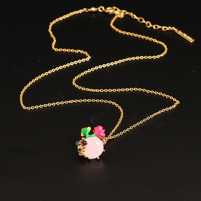 New Arrivals Be Listed Enamel Crystal Glaze Flower White And Delicate Jewel Necklace Clavicle Chain Woman