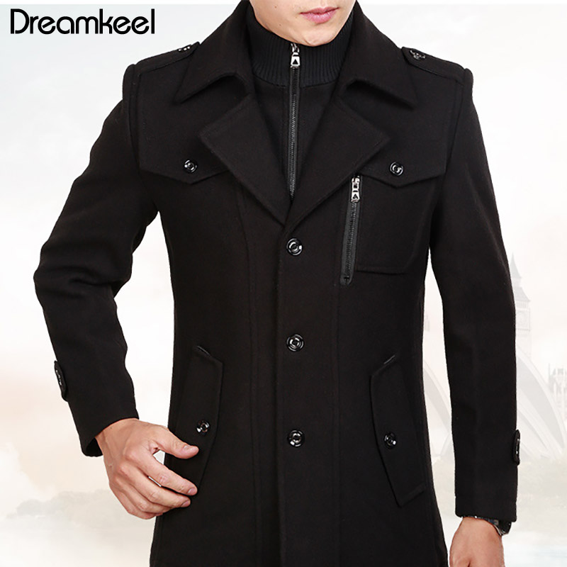 Slim Smart Casual Formal Wool Mens Clothing Overcoats Fashion Winter Dress Coat Mens Autumn Winter Trench Coat Men 2019Y(China)